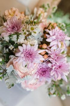 Soft Rustic Bridal Bouquet - Top View - Photo Courtesy of Little Rae Photography