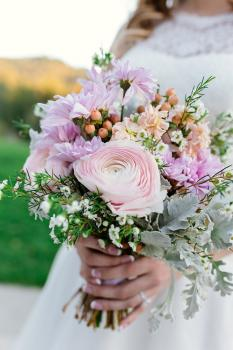 Soft Rustic Bridal Bouquet - Front View - Photo Courtesy of Little Rae Photography