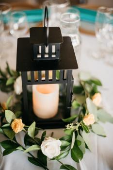 Simple Lantern Centerpiece - Photo Courtesy of Hewitt Photography