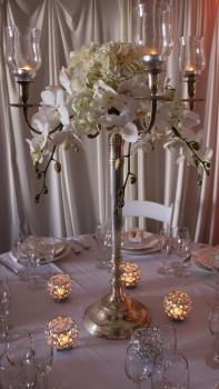 Silver Candelabra with All White Floral
