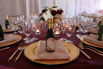 Marsala Wedding with Personalized Champagne Bottles